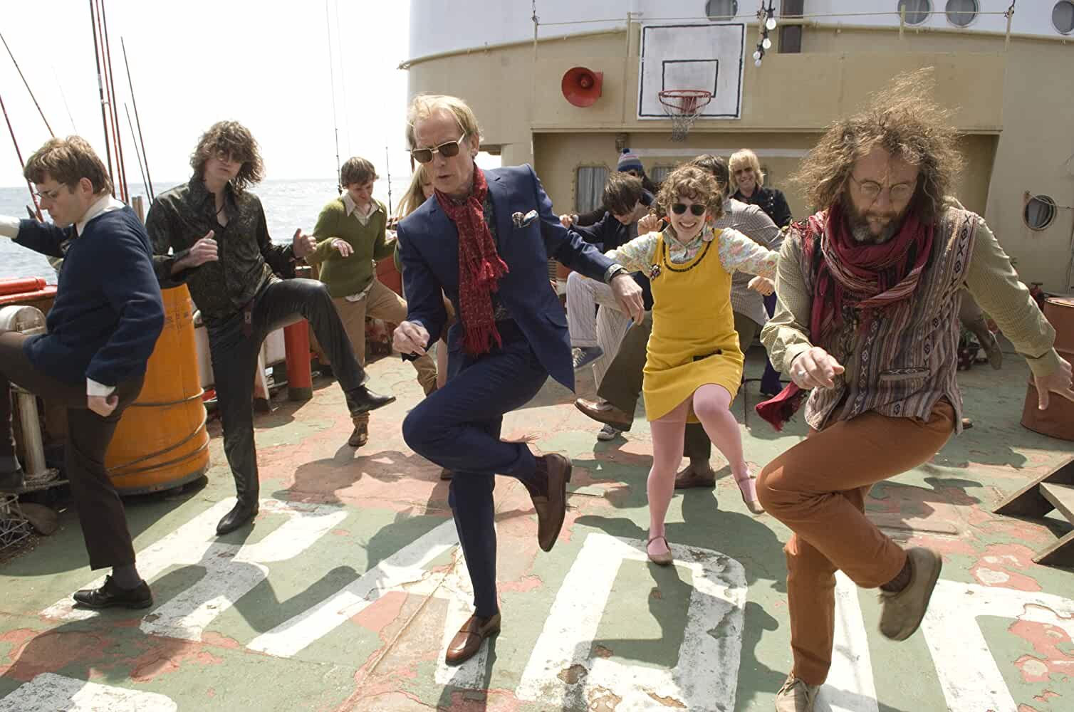 Will Adamsdale, Ralph Brown, Bill Nighy, and Katherine Parkinson in The Boat That Rocked (2009)